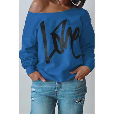 Round Neck Long Sleeves Letter Printing Cotton Pullover by Reeanne