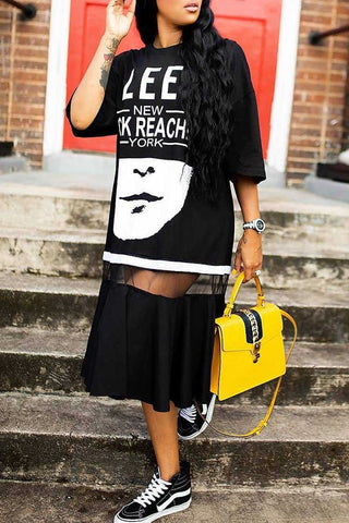 Black Tee Style Letter Printed Midi Dress by Reeanne