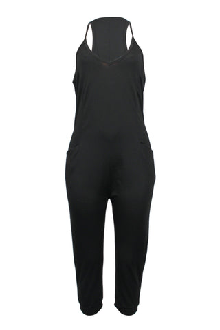 V Neck Racer Back One-piece Jumpsuits