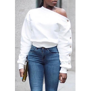 White Off Shoulder Long Sleeves Sweatshirt With Button Detail by Reeanne