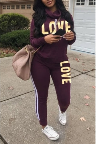 Women Love Printed Tracksuit Sweatsuit Two-piece Pants Set