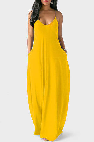 Yellow V Neck Spaghetti Strap Maxi Dress With Pockets by Reeanne