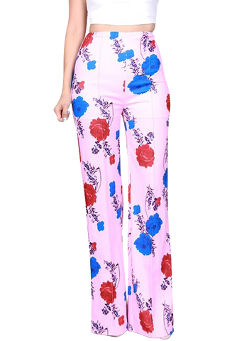 Kenya High Waist Pink Floral Pants