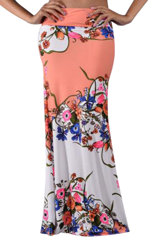Coral floral print maxi skirt