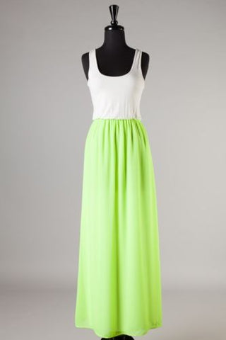 Neon Green racerback maxi dress