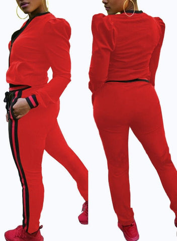 Red puff sleeve  jogger pants set
