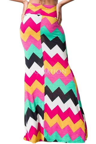 Chevron print floor Grazing maxi skirt