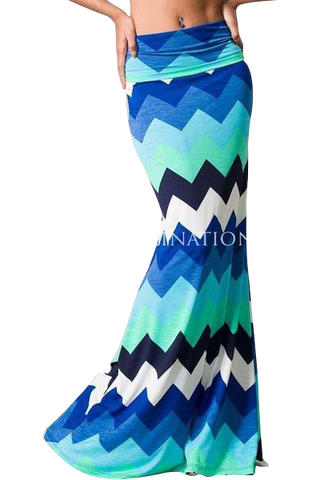 Blue Chevron print floor Grazing maxi skirt