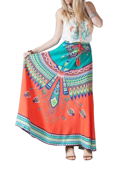 Bohemian  floor Grazing maxi skirt