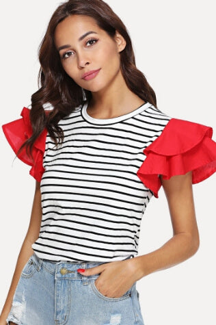Contrast Layered Cap Sleeve Striped Tee