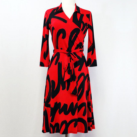 Red and black letter print dress
