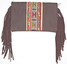 Load image into Gallery viewer, Brown Textile Fringe Crossbody/Clutch Bag