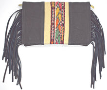 Load image into Gallery viewer, Black Fringe Textile Crossbody/Clutch Bag