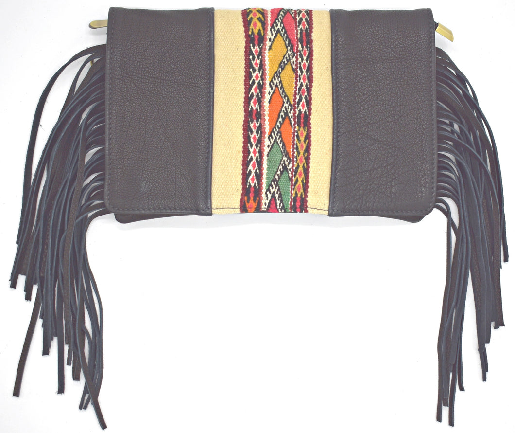 Black Fringe Textile Crossbody/Clutch