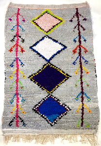 "Colorful Moroccan Boucherouite Rug - 4'10"" x 3'3"""