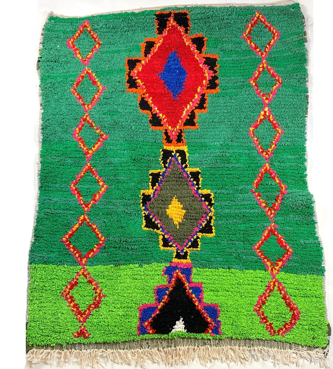 Colorful Moroccan Boucherouite Rug - 5' x 4'11""