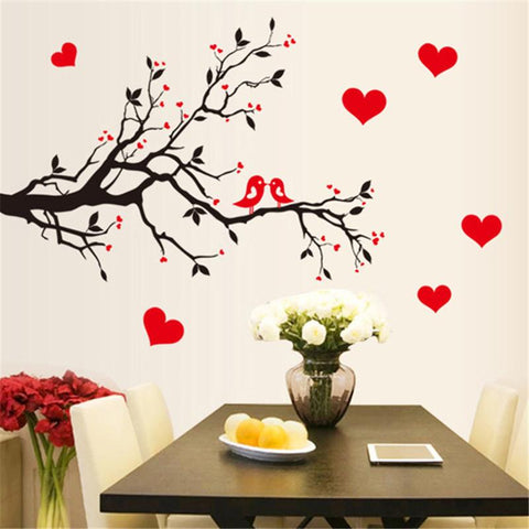 red hearts love birds diy wall decal – decal obsession