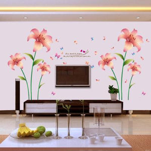 pink lily wall art decal decal obsession