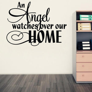 [An Angel Watches Over Our Home Wall Decal Quote]   Decal Obsession