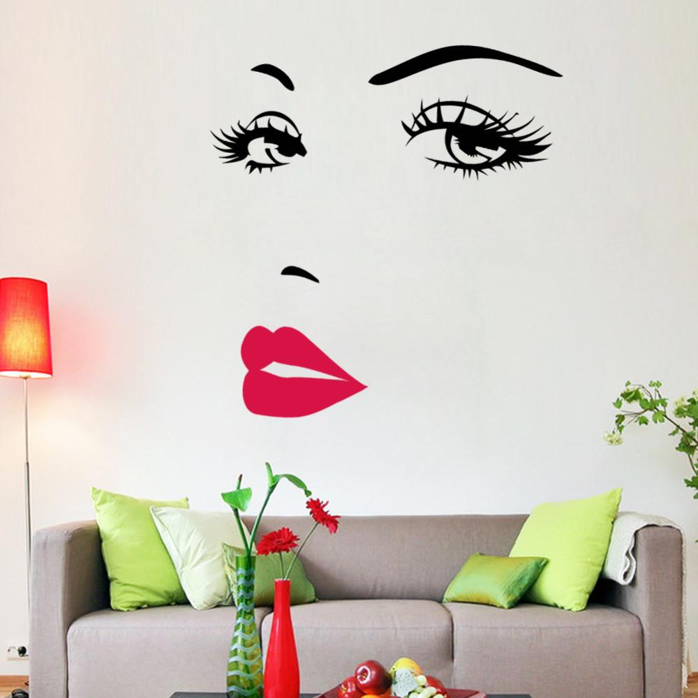Bedrooms wall decals decal obsession girl with red lips wall art decal decal obsession amipublicfo Images