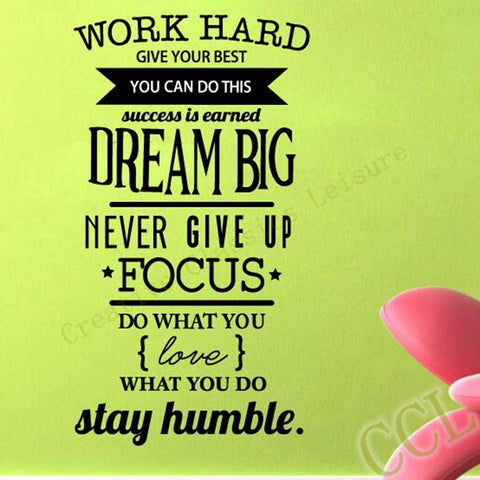 Work Hard Dream Big Motivational Quote Decal Obsession