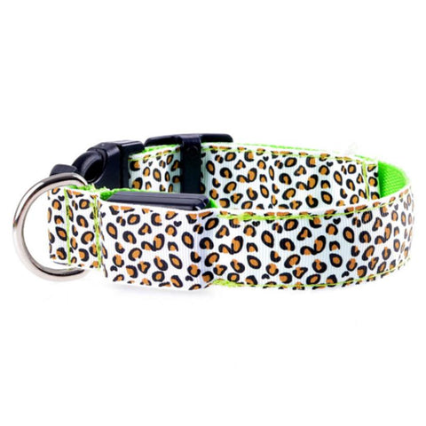LED Safety Glow Collar - Leopard Style