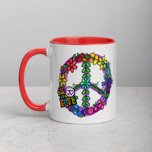 Flower Peace Power Tour of Love Mug with Color Inside