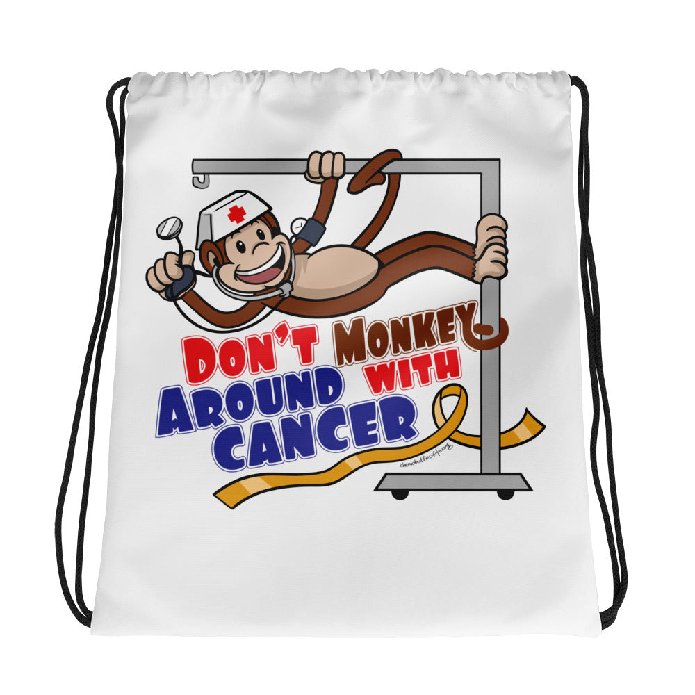 Don't Monkey Around Drawstring bag