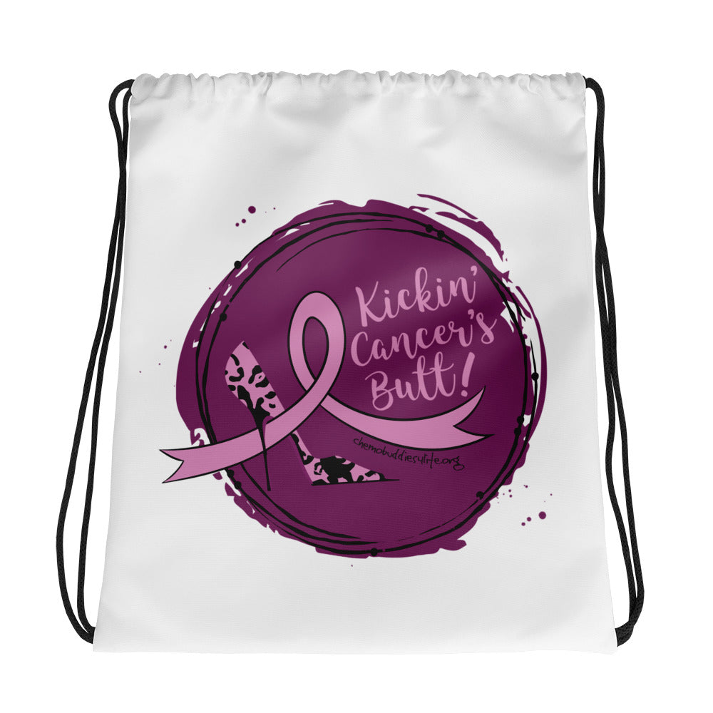 Kickin. Cancer's Butt Drawstring bag