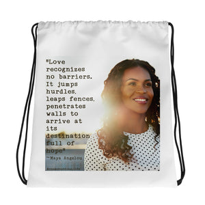 """Love Recognizes No Barriers"" Drawstring bag"