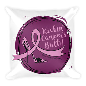 Kickin' Cancer's Butt Square Pillow