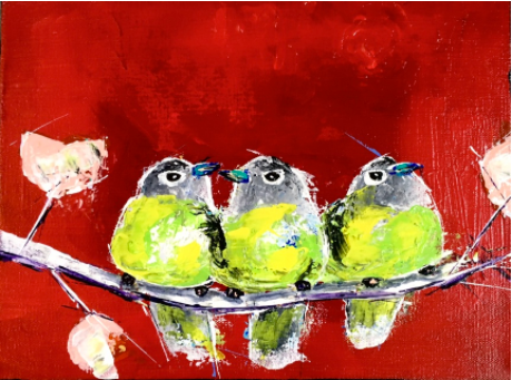 3 Chubby Birds on a Branch by Doug Belding