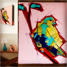 Yellow Bird with Blue Belly collage by Doug Belding