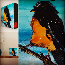 Orange Belly and White Spots Bird collage by Doug Belding