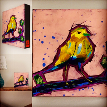 Blue Tailed Yellow Bird collage by Doug Belding