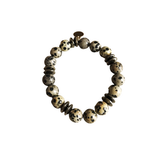 Dalmatian Jasper and Hematite Stretch Bracelet
