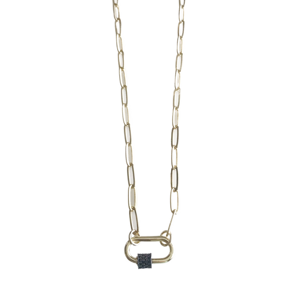 Gold and Gunmetal Dainty Carabiner Necklace