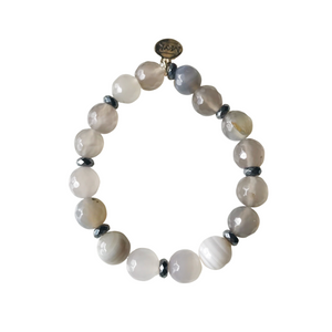 Gray Striped Agate Stretch Bracelet