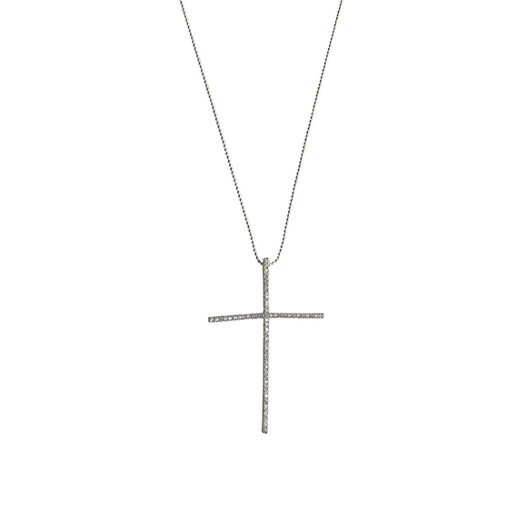 Large Pave Floating Cross Necklace