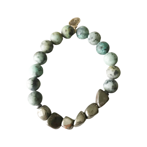Matte African Turquoise and Pyrite Nuggets Stretch Bracelet