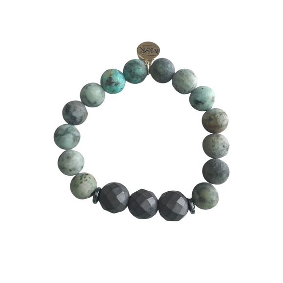 Matte African Turquoise with Matte Pyrite Stretch Bracelet