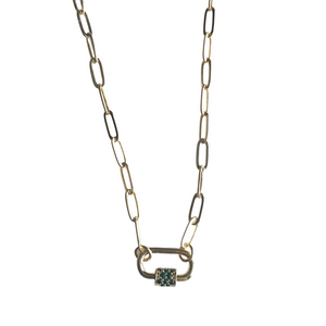 Mini Carabiner Necklace with Pave Emerald CZ Detail
