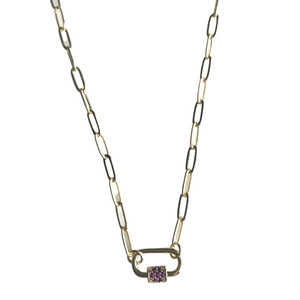 Mini Carabiner Necklace with Pave Garnet CZ Detail