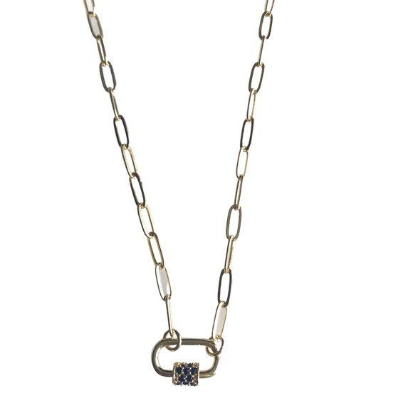Mini Carabiner Necklace with Pave Navy CZ Detail