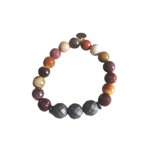 Mookiate and Matte Hematite Stretch Bracelet