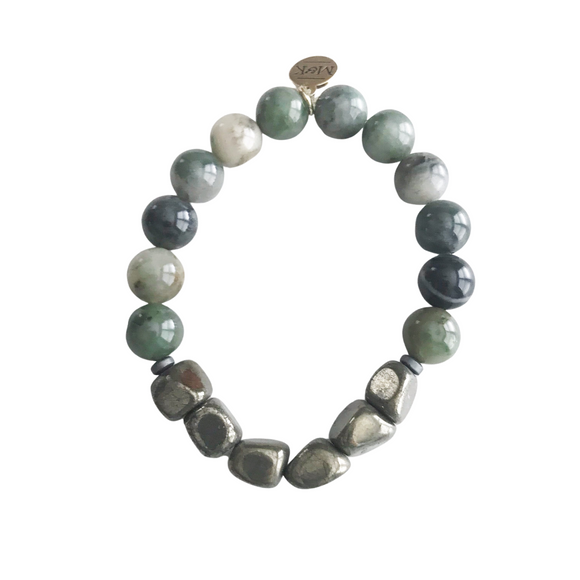 Moss Agate with Pyrite Stretch Bracelet