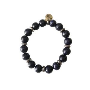 Navy Sunstone Stretch Bracelet