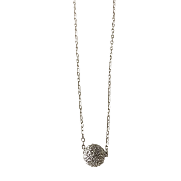 Pave Disco Ball Gunmetal Necklace