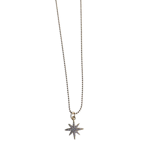 Pave North Star Charm Necklace