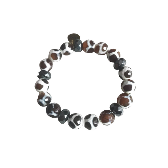 Safari Agate and Hematite Stretch Bracelet